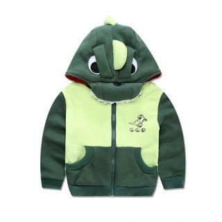 子供グリーンジップトレーナーのためのフリース恐竜パーカー