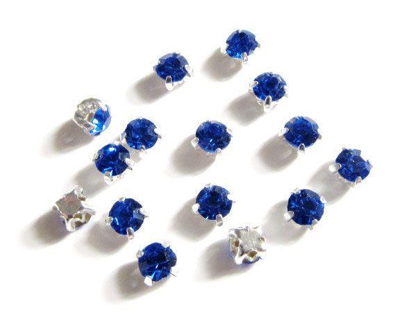 Lot de 15 petits strass sertis bleu foncé 4 mm / strass à coudre
