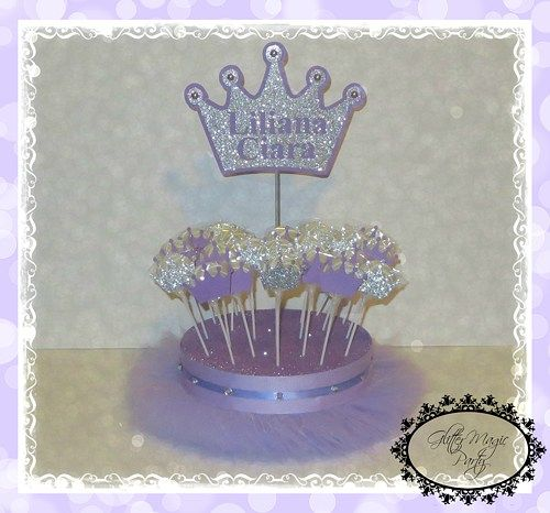 """Lavender Tutu Stand - The stand will hold up to 24 CAKEPOPS or LOLLIPOPS. **the stand usually holds any kind of pops. **LOLLIPOPS ARE NOT INCLUDED  - Base: 9.5"""" round x 2'' high.  - Crown measures approx. 6 1/2"""" tall x 7 1/2"""" wide  If you want to see my products, please visit my FB PAGE: https://www.facebook.com/gmagicparty   Princes Sofia Sofia The First Inspired Princes Party Decoration Princess Theme Princess Baby Shower Princess Birthday Party"""