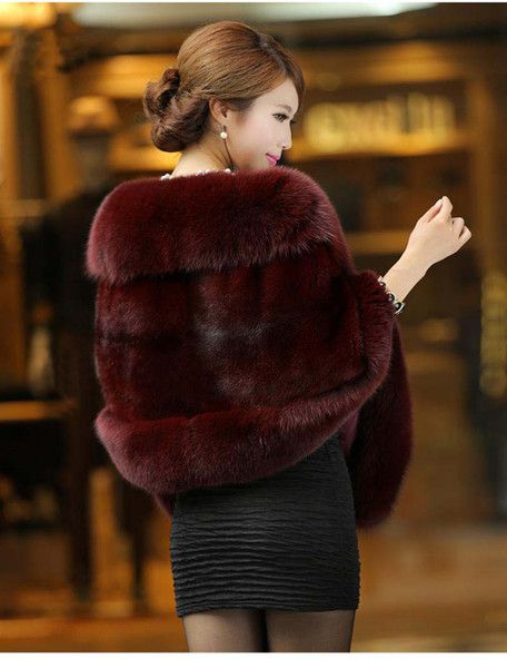 I found some amazing stuff, open it to learn more! Don't wait:http://m.dhgate.com/product/2014-fashion-burgundy-faux-fur-bridal-wrap/208307727.html