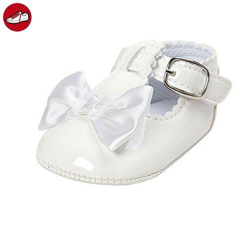 Estamico Baby Mädchen Weiche Leder Bogen Prinzessin Weiße Taufschuhe 0-6 Monate - Kinder sneaker und lauflernschuhe (*Partner-Link)