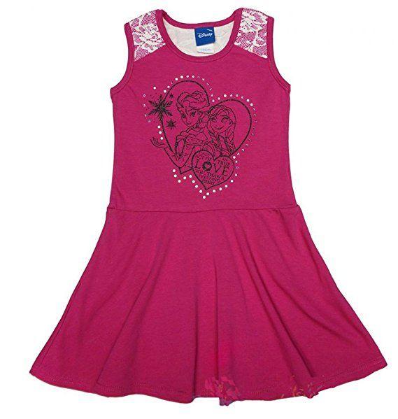 Madchen Kleid Eiskonigin Sommer Kleid Rosa Mit Motiv Und Pailletten Freizeit Kleid Armellos Mit Eis Prinzessinnen Sommer Kleider Frozen Kleid Kleider Sommer