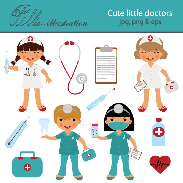 This adorable Cute little doctors clipart set comes with 13 cliparts featuring 2 doctors, 2 nurses, stethoscope, clip board, thermometer, syringe, doctor`s bag, human teeth,