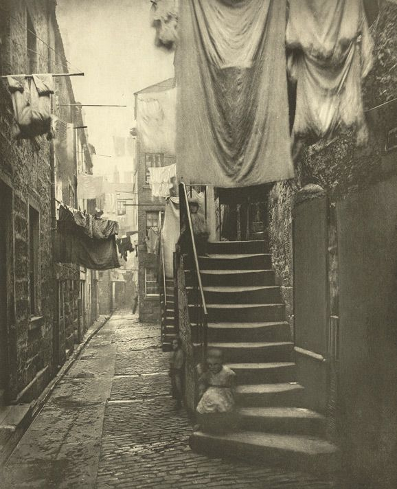 Close No 193 Hight Street - 1868 Scottish photographer Thomas Annan's view of the poor living conditions in the narrow lanes just off the High Street, Glasgow. Annan was commissioned by The City  Improvement Trust to document the city's slums which were scheduled for demolition and reconstruction by an act of Parliament in 1866.