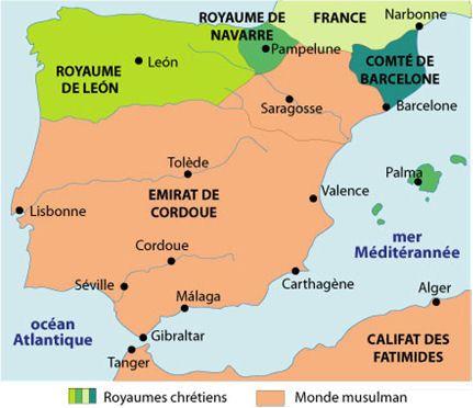 Péninsule Ibérique aux IX-XIe s. avec les royaumes de Leon, Navarre et le Comté de Barcelone.