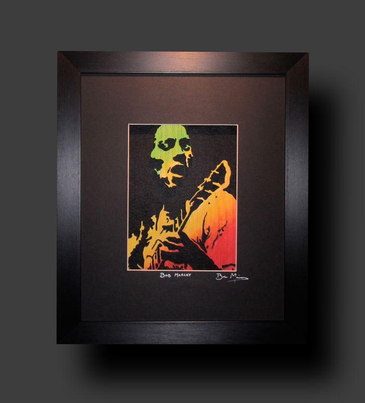 Bob Marley. Mixed media using 9mm Birch, acrylics, inks. £110.