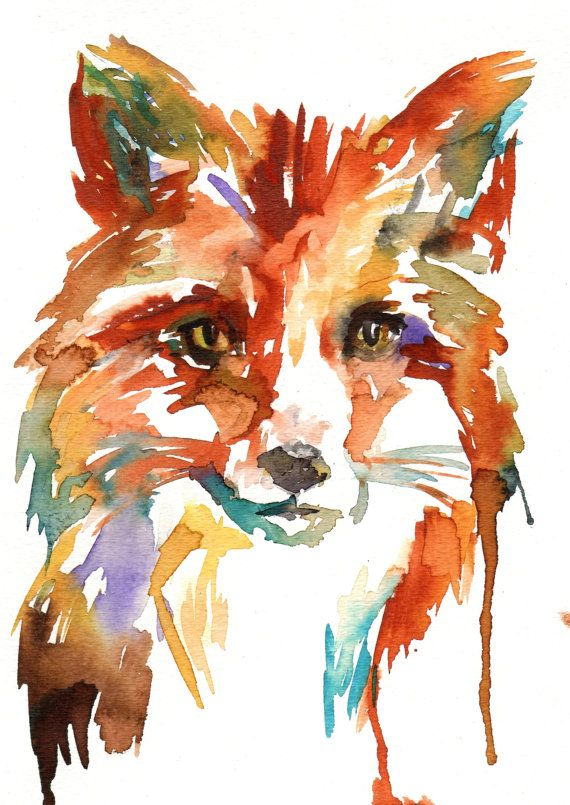 "Print of Watercolor Painting ""What's the Fox Say?"" 8 x 10 Original Watercolor Painting Pink Fuschia Orange Yellow Tan Brown"