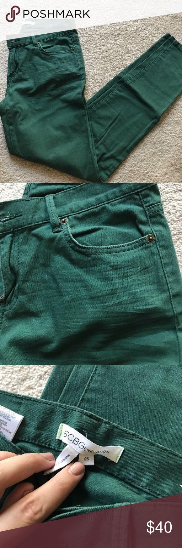 BCBGENERATION hunter green skinny jeans BCBGENERATION hunter green skinny jeans. Great condition! Size 25. BCBGeneration Pants Skinny