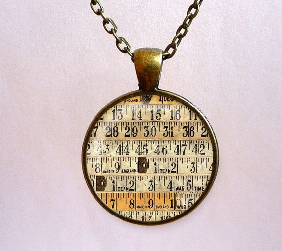 Measuring tape pendant. Vintage style necklace. by OldeOwlPendants