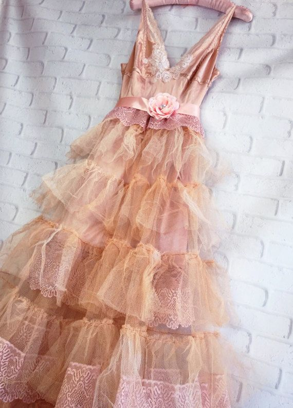 light cocoa tan blush tulle boho wedding by mermaidmisskristin