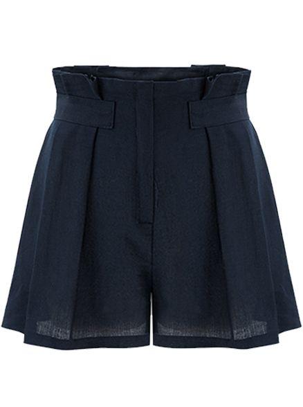 Navy High Waist Loose Shorts - Sheinside.com