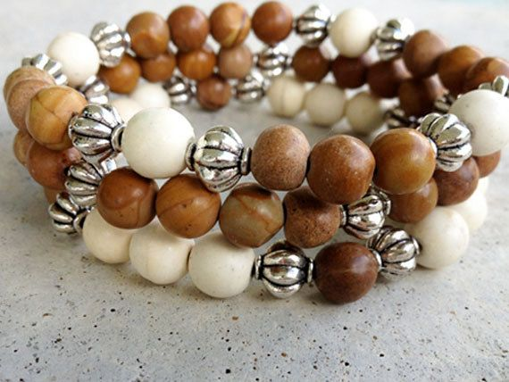 Beaded stretch bracelet stack.