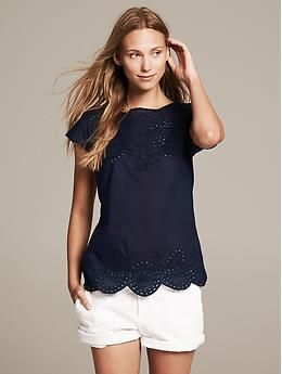 Embroidered Top   Banana Republic-- who doesn't love navy & white??!!