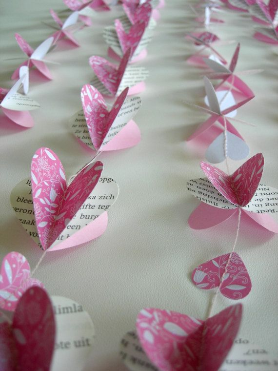 Papel 3D corazones Garland