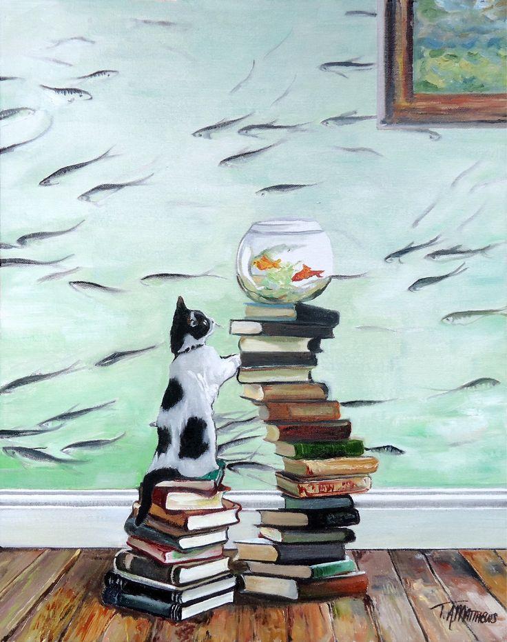 "Buy ""Curious Kitten with Fishbowl"" by Timothy Adam Matthews on artfinder.com/tamatthews"