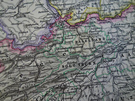 SWITZERLAND old map LARGE 1884 original antique German print