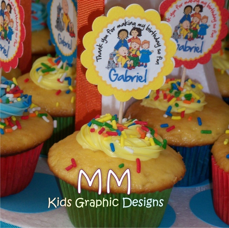 Caillou Theme  50 Cupcake Toppers  Personalized  by MMKids on Etsy, $30.00
