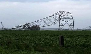Transmission towers toppled by high winds in South Australia on 28 September