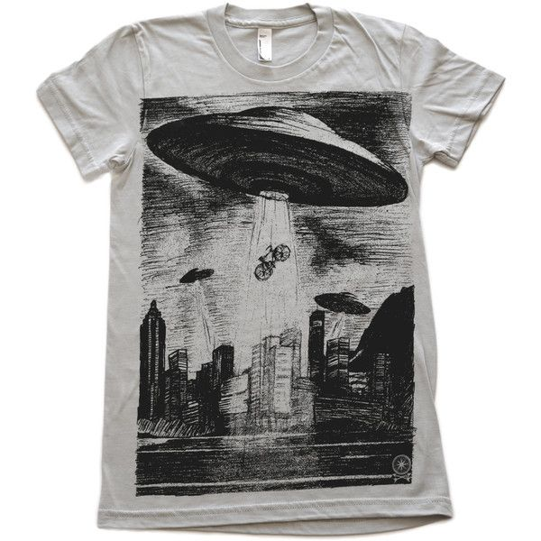 Womens Ufo T-Shirt American Apparel Silver Tee ($26) ❤ liked on Polyvore featuring tops, t-shirts, grey, women's clothing, silver shirt, grey top, grey tee, grey shirt and silver grey top
