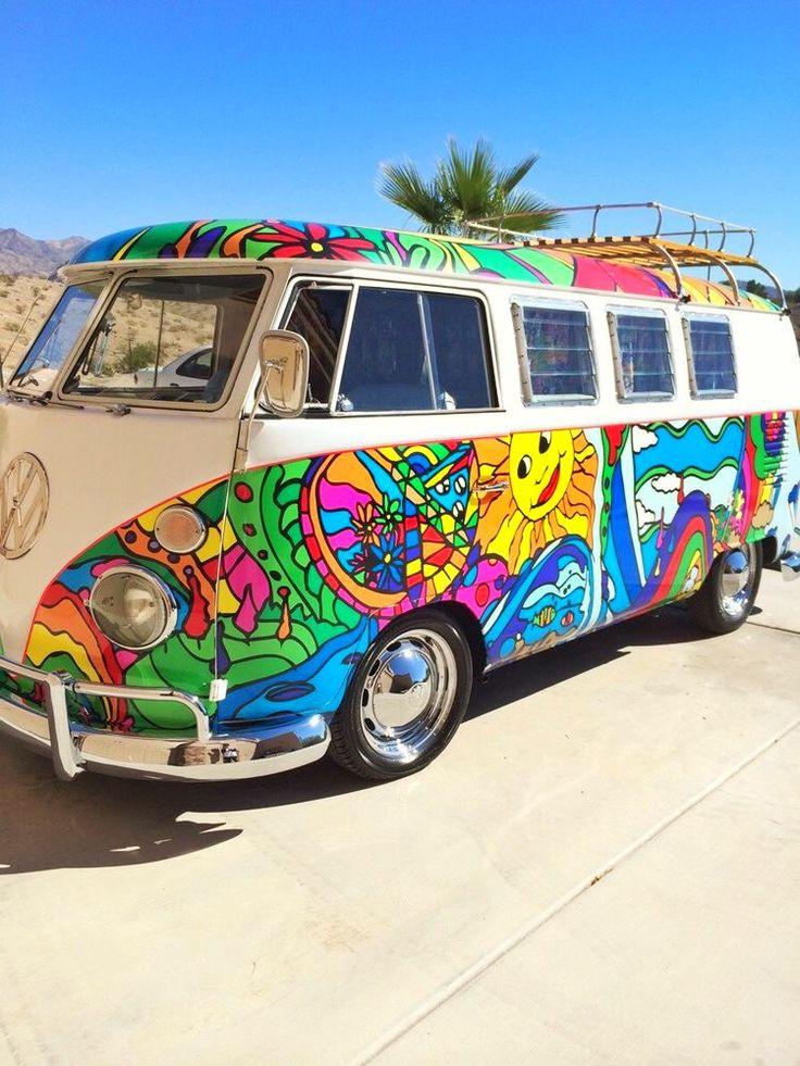 let 39 s get perfectly lost hippie van art vw bus hippie painting art cars. Black Bedroom Furniture Sets. Home Design Ideas