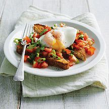 Poached egg with tomato salsa