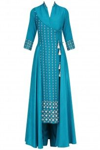 Blue Floral Embroidered Asymmetric Kurta and Pants Set #madamtinzin #shopnow #ppus #happyshopping