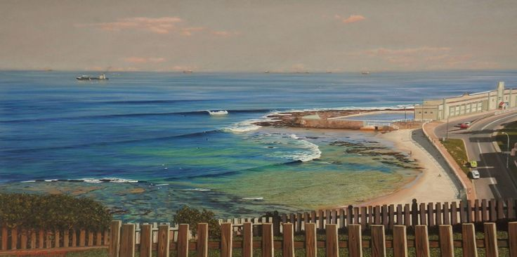 Cowrie Hole from Fort Drive, Newcastle by Rod Bathgate.  'The Galleries Masters'   Rod is arguably in the top 5 of Australia's best pastel artists. Steve's sculptures capture the viewer's attention because they are foremost colourful. Browse & buy here: http://goo.gl/Zxnvm1 #art #australianart #chg