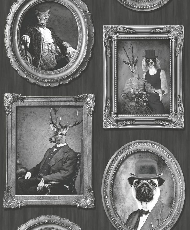 Clin d 39 oeil r tro avec ce papier peint portrait d 39 animaux en gris a - Papier peint portrait ...