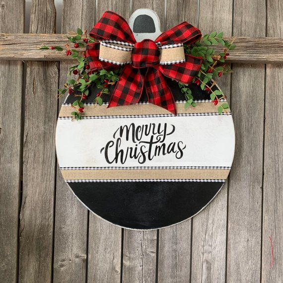 Merry Christmas Home Sign Buffalo Plaid Front Door Decor Round Door Decoration Front Door W Christmas Decorations Wreaths Christmas Wood Christmas Decor Diy