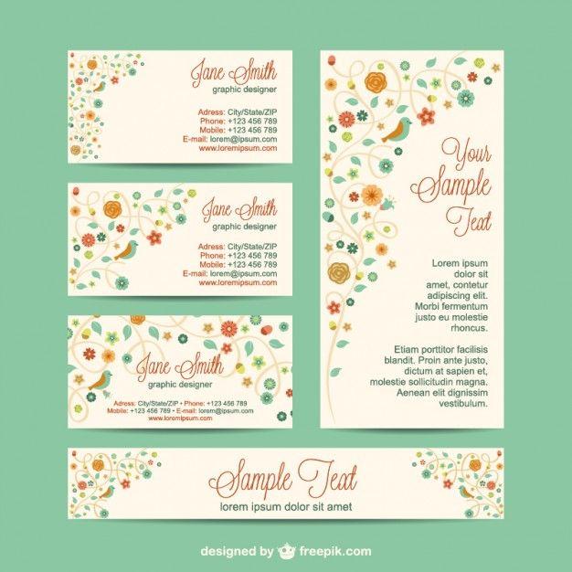 Design set identidade corporativa flores Vetor grátis
