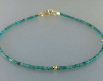 Check out Fine bracelet with Turquoise and 14K gold plated elements and clasp - gift idea on gemorydesign