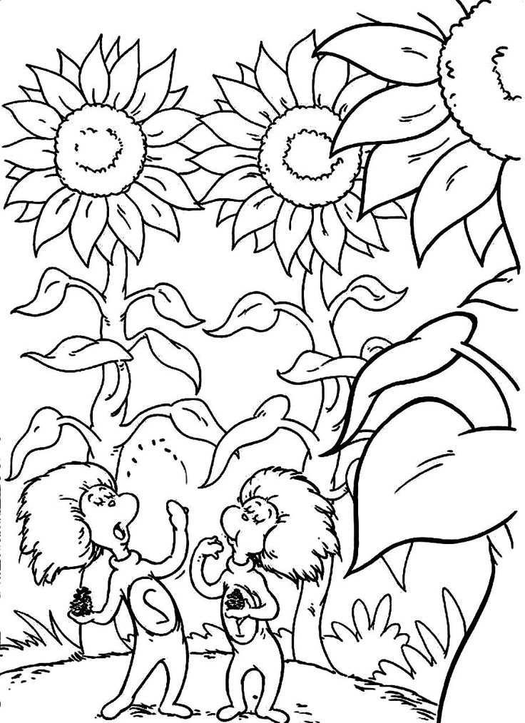 Download and Print friends of dr. seuss cat in the hat are between the high plants coloring pages
