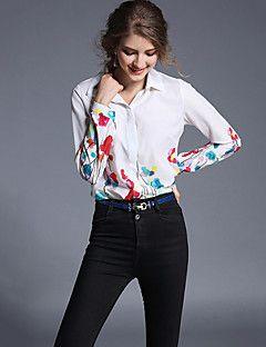 Feminino Camisa Social Casual / Trabalho Moda de Rua Primavera / Outono,Estampado Branco Outros Colarinho de Camisa Manga Longa Média