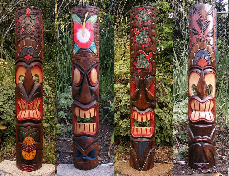 """Tiki Statue Mask set Hawaiian Tropical home decore vintage ornaments antique Tribal Tiki Mask Package Deal Set of 4- Patio Tropical Bar 40"""" by CraftyplusBoutique on Etsy"""