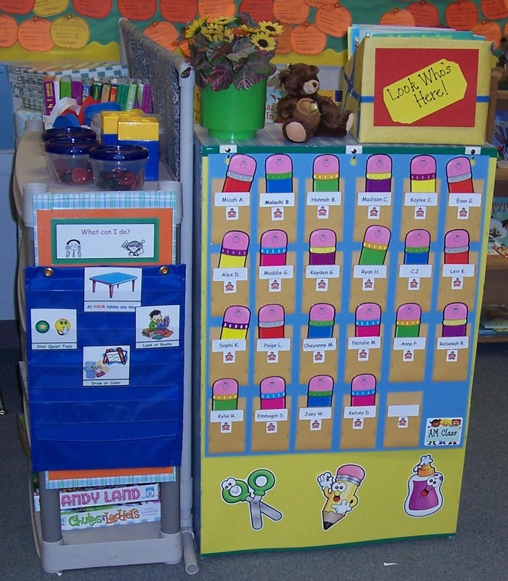 Classroom Attendance Ideas : Attendance chart put kids picture and name on pockets