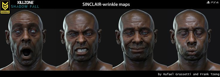 ArtStation - KILLZONE 4- character- Sinclair Wrinkle maps, Frank Tzeng