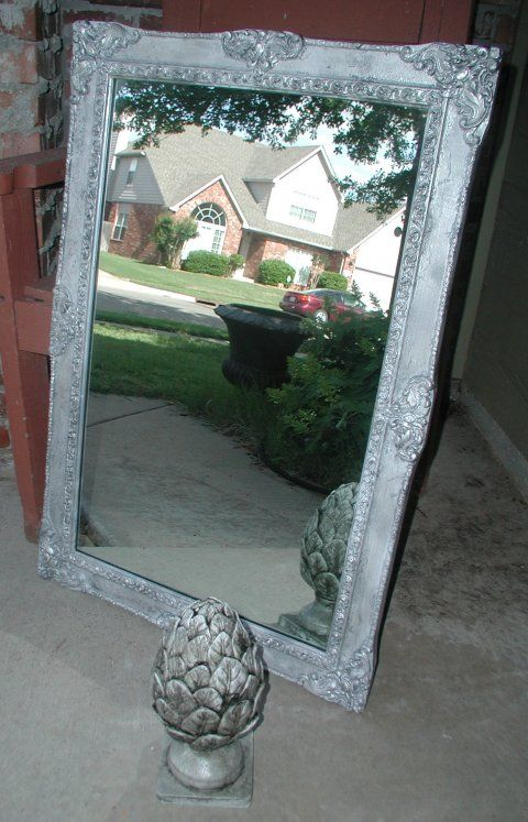 DIY mirror frame using silver foil, beauitful!