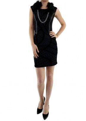 Desenli Kürklü Elbise