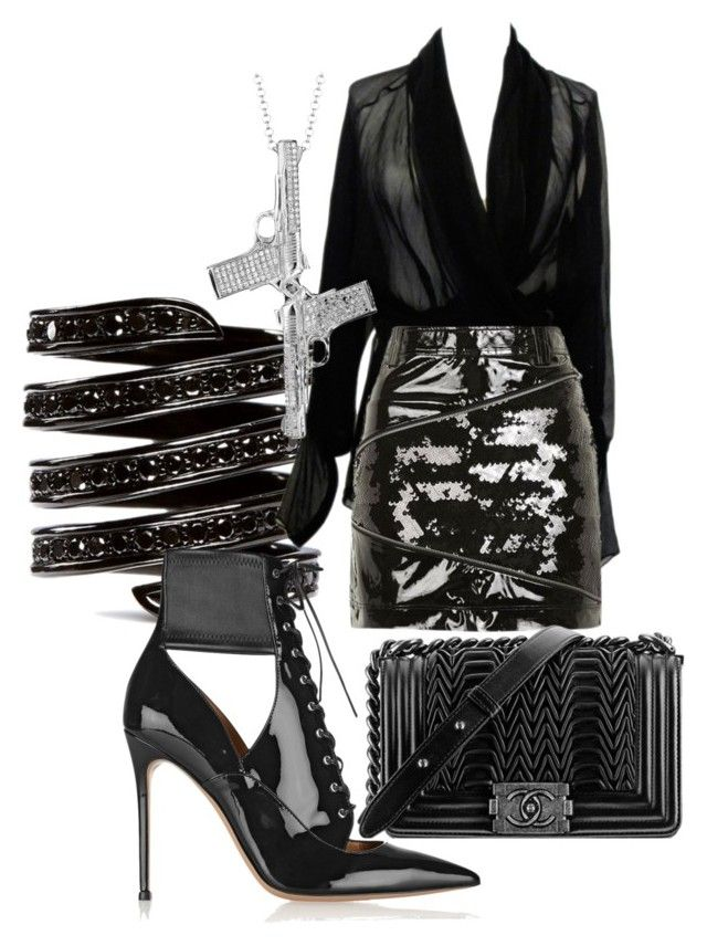 featuring polyvore, fashion, style, Hermès, Topshop, Gianvito Rossi, Lynn Ban, Chanel and clothing