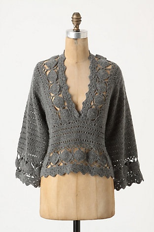 Crocheted Pull Over... Hmm. Would I wear i nude or white camisole underneath? It is really pretty.