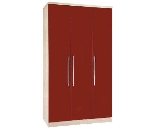 Red Three Doors Wardrobe Design Id552 - Three Door Wardrobe Designs - Wardrobe Designs - Product Design