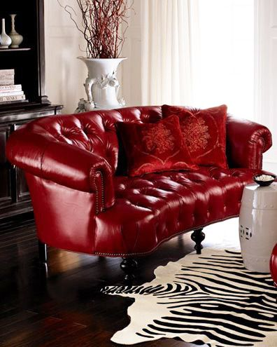 Rich Red Via Neiman Marcus Sofa Couch Leather Tufted