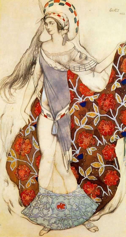 Бакст Лев Самуилович (1866-1924)«Эскиз костюма танцовщицы, держащей шлейф своего платья, к балету Поля Паре 'Смущенная Артемида'»1922