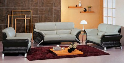 Vig Furniture 7030 Contemporary Leather Grey and Black Living Room Set