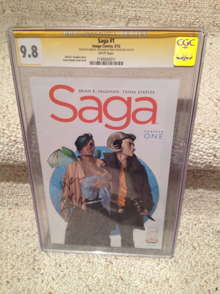 'Saga' #1, CGC 9.8, signed by Brian K. Vaughn and Fiona Staples.