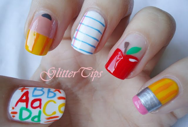 LOVE these nails! Pencil/Notebook Paper/Apple/Pencil Nails