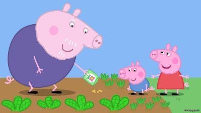 Nonno George e Peppa seminano nell'orto