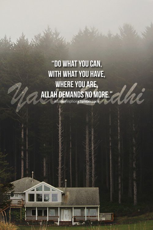 """Do what you can, with what you have, where you are, Allah demands no more."" -Yasir Qadhi"