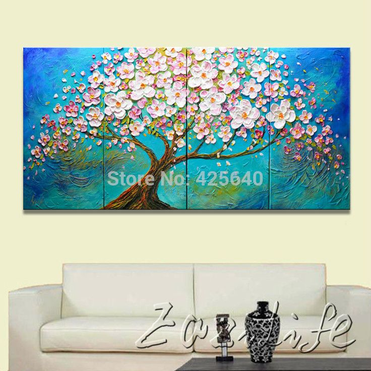 Find More Painting & Calligraphy Information about Oil painting On Canvas Wall Pictures Painting For Living Room multi Panel Canvas Wall Art Palette Knife Hand Painted Cherry Tree,High Quality painting scroll,China painting nude Suppliers, Cheap paintings magritte from Eazilife Oil Painting on Aliexpress.com
