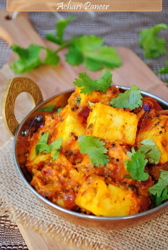Achari Paneer (Paneer curry with pickle spices)